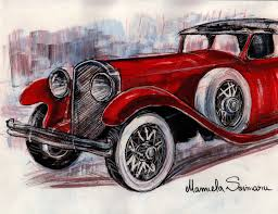 Downton Abbey Drawing Classic Car 1910s Vintage