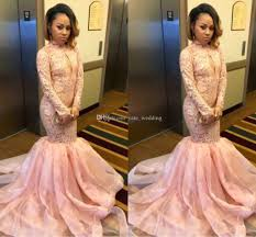 pale pink mermaid prom dresses 2017 high neck long sleeves lace