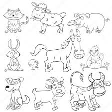 Coloring Book With Farm Animals Stock Vector 10887379