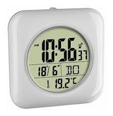 bad uhr badezimmeruhr funkuhr funkgesteuert silber lcd temperatur tfa dostmann