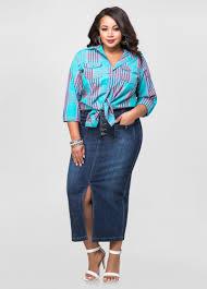front slit long jean skirt plus size maxi skirts ashley stewart