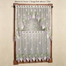 vineyard grape lace tier window treatment