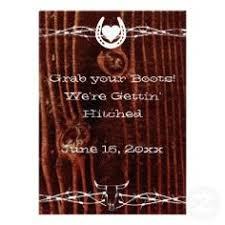 Barbed Wire And Horseshoe Wedding Invitations With Barn Wood Background One Side Reads Grab
