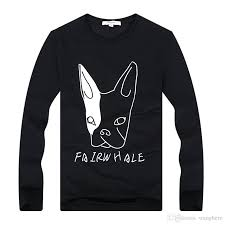short men t shirt casual long sleeve animal cotton skate dog shirt