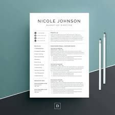 Resume Design Templates 2 Column Clean Modern Word Download With Regard To