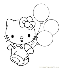 Hellokitty With Balloons Coloring Page