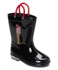 Chatties Black & Red Fire Truck Rain Boot - Boys | Zulily
