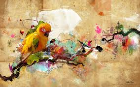 Artwork Abstract Paint Bird Lost Sadness Man Nature 4 Sizes Home Decoration Canvas Poster Print