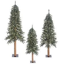 3 Piece Natural Bark Alpine 6 Artificial Christmas Tree Set With 500 Clear Lights