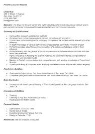 Resume Computer Science Fresher Cover Letter For Sample Lecturer