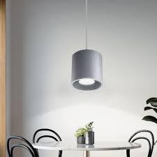 etc shop pendelleuchte pendelleuchte zylinder esstisch deckenlen modern pendelleuchten wohnzimmer aluminium grau 1x gu10 dxh 10x80 cm