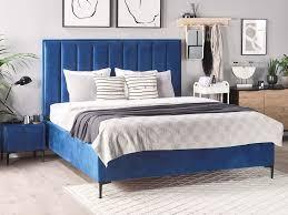 bett 2x nachttisch sezanne blau samtstoff 160x200 ch