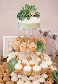 Picture Of Cupcake Stand Decorated With Succulents