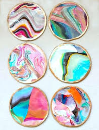 Crafts Using Nail Polish Marbled Coasters Fun Cool Easy And Cheap Craft Ideas For Girls Teens Home Decor Worthy