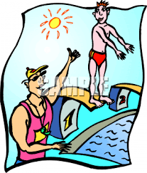 Cartoon Clipart Picture Of A Swimming Coach Helping Student On Diving Board