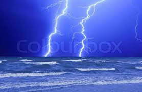Stock Image Of Thunderstorm And Perfect Lightning Over The Wave Ocean
