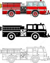 Different Kind Fire Trucks Isolated On White Background In Flat ...