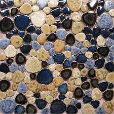 tst porcelain pebbles mosaic blue glazed ceramic tiles bath floor