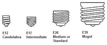 the difference between e26 and e39 base type light bulbs
