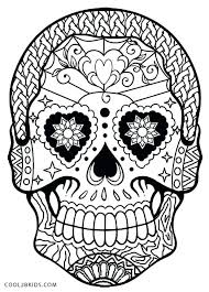 Halloween Coloring Pages Skulls Skull And Crossbones Of Flowers Day Dead