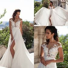 2017 Milla Nova Cheap Wedding Dresses Jewel Neck Illusion Lace Appliques Cap Sleeves Split Chiffon Beach Plus Size Formal Bridal Gowns