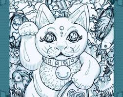 Maneki Neko Good Luck Garden Japanese Beckoning Cat Adult Coloring Book Page Instant