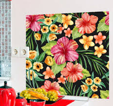 aquarell tropische blumen wohnzimmer wandtattoo