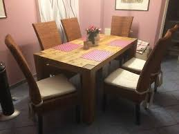 6 esszimmer stühle mit auflagen korb rattan gebraucht