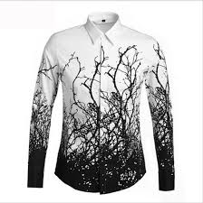 2015 2016 Fashion Trends Mens Tree Branches Pattern Long Sleeved White Shirt Casual Slim Men Dress Clothes Shirts 2018 From Minicon 4774