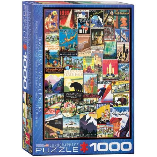 Eurographics Travel USA Vintage Posters Jigsaw Puzzle - 1000pcs