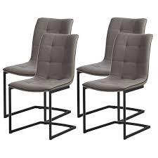 chaise pied metal plymouth lot de 4 chaises de salle à manger tissu gris perle