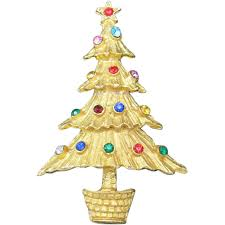 Christmas Tree Pin Gold Tone Rhinestones Vintage Unsigned Beauty Jewelry