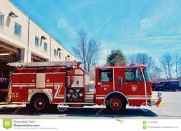 100 Fire Trucks Unlimited Shiny Red Engine Moving Out Of Station Side View