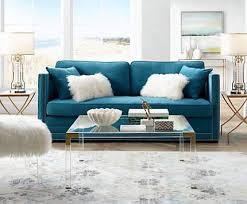 A Pair Of Gold Finish Glass Beaded Lamps Frame Sea Blue Loveseat