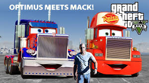 GTA V - LIGHTNING MCQUEEN TRUCK MACK MEETS OPTIMUS PRIME (GTA 5 ...
