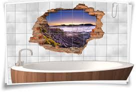 badezimmer deko braun beige vulkan landschaft wand