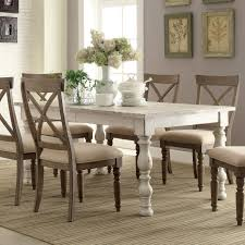 Aberdeen Wood Rectangular Dining Table Only In Weathered Worn White Room Sets
