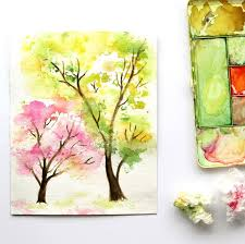 Easy And Fun Tutorial On How To Paint A Beautiful Spring Tree Watercolor Painting Using Crumbled