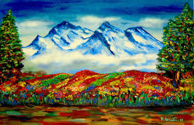 How To Paint Snowy Mountain Blooming Spring Flowers Acrylic Impressionist By Rami Benatar