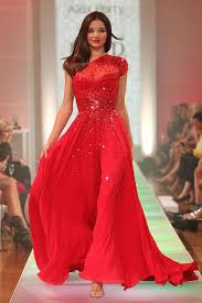 miranda kerr t stage celebrity dress sequined red chiffon one