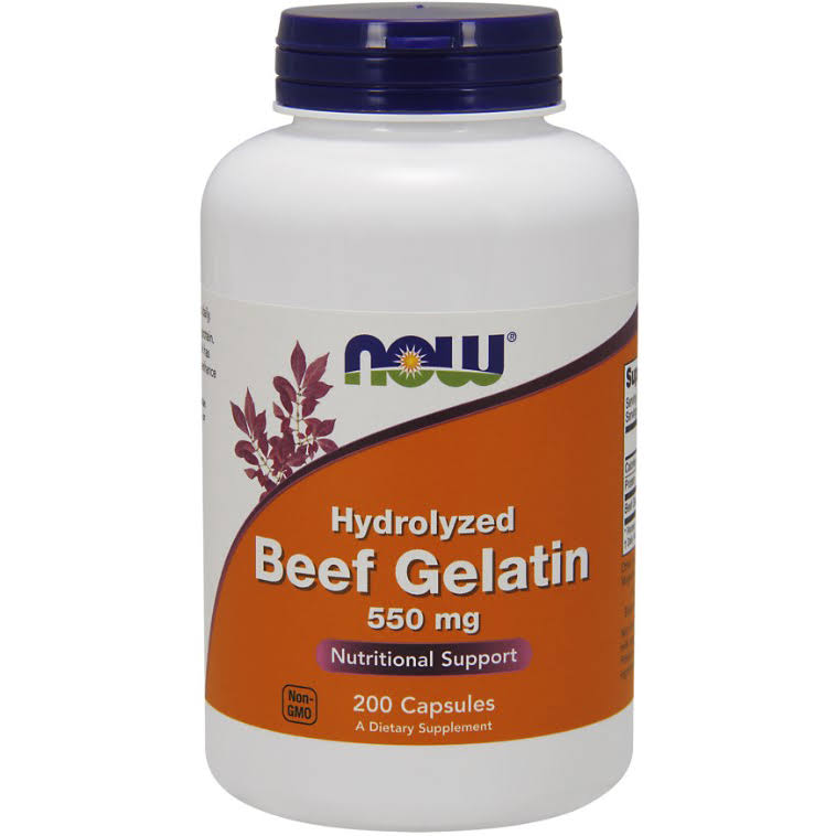 Now Foods Hydrolyzed Beef Gelatin Capsules - 550mg, 200ct