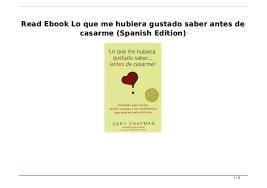 Read Ebook Lo Que Me Hubiera Gustado Saber Antes De Casarme Spanish Edition