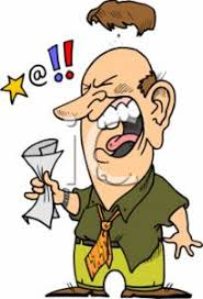 Clipart of a Toupe Flying f of an Angry Businessman Yelling