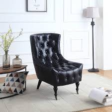 DIVANO ROMA FURNITURE Classic Tufted Faux Leather Shelter Wing Living Room  Chair, Accent Armchair With Casters (Black) Brampton Traditional Upholstered Chair With Rolled Arms And Casters By Robin Bruce At Rooms Rest Del Sol Af Dundee 96675 Accent Huntington House 7366 Navy Blue Ding Room Chairs Without Set Sydney With Brass Caster Lexington Home Brands Escapecoastal Living Collection Kiawah Sofa Amusing Of Fniture Sitting Two Amazoncom Fubas Lounge Classic Tufted Linen Fabric Shelter Wing Armchair Grey Tables Lazboy Atemraubend Small Swivel Power Recliners Tub Desk For Klaussner Cameron K4000 Oc