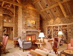 Nichols Lumber With Rustic Family Room Also Balcony Built In Bookshelves Cathedral Ceiling Exposed Beams Fireplace