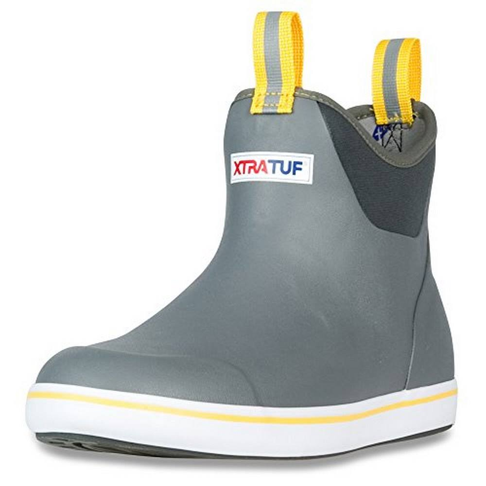 Xtratuf Mens Ankle Deck Fishing Boot - 9 US, Gray and Yellow