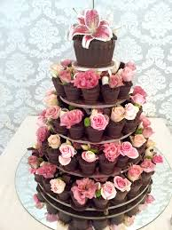 Wicked Chocolate Flower Pot wedding tower dipped in dark chocolate decorated with fresh pink roses