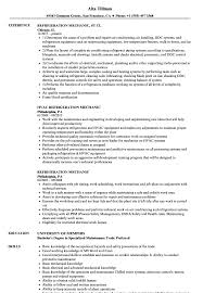 Download Refrigeration Mechanic Resume Sample As Image File