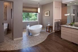 badezimmer gestaltung ideen fußboden holz stein geschwungen