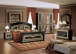 schlafzimmer set komplett schwarz gold mäander hochglanz